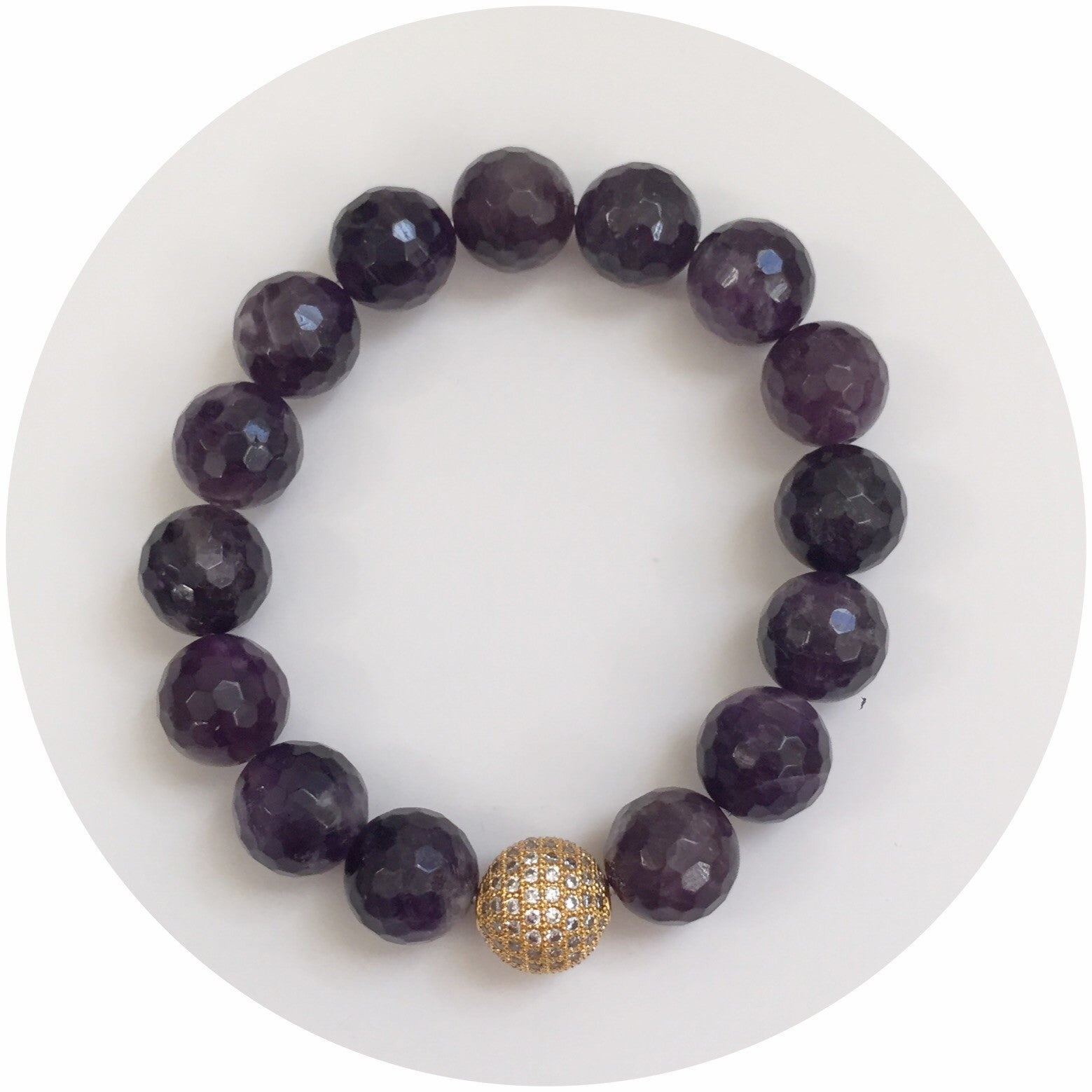 Amethyst with CZ Micro Pavé Gold Accent - Oriana Lamarca LLC
