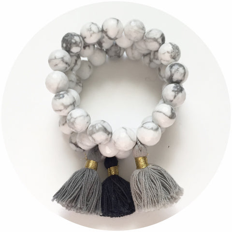 White Howlite with Taupe Tassel