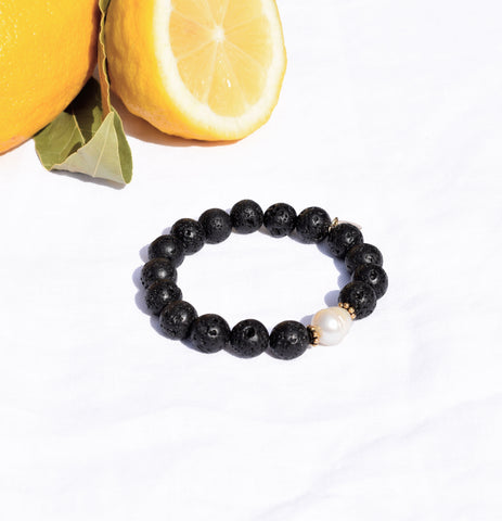 Black Lava with Freshwater Pearl