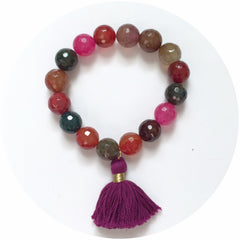 Multicolor Agate with Violet Tassel - Oriana Lamarca LLC
