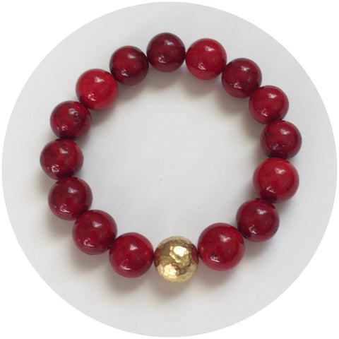 Red Riverstone with Hammered Gold Accent