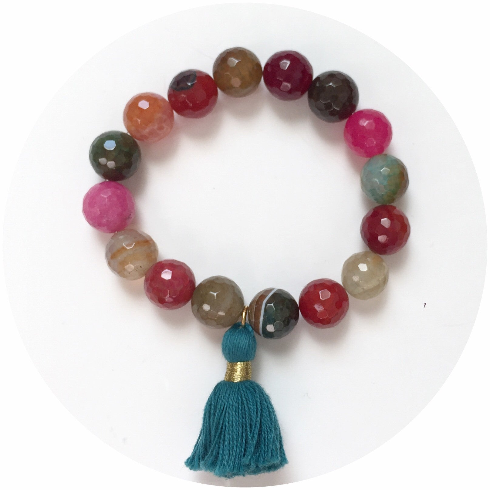 Multicolor Agate with Emerald Tassel - Oriana Lamarca LLC