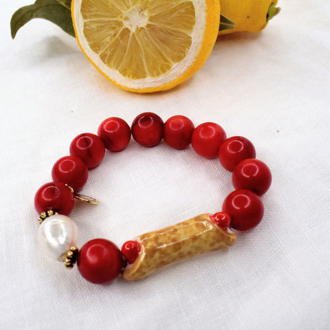 Red Coral with Handpainted Cannoli