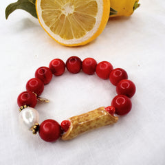 Red Coral with Hanpainted Cannoli - Oriana Lamarca LLC