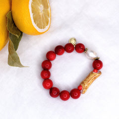 Red Coral with Hanpainted Cannoli