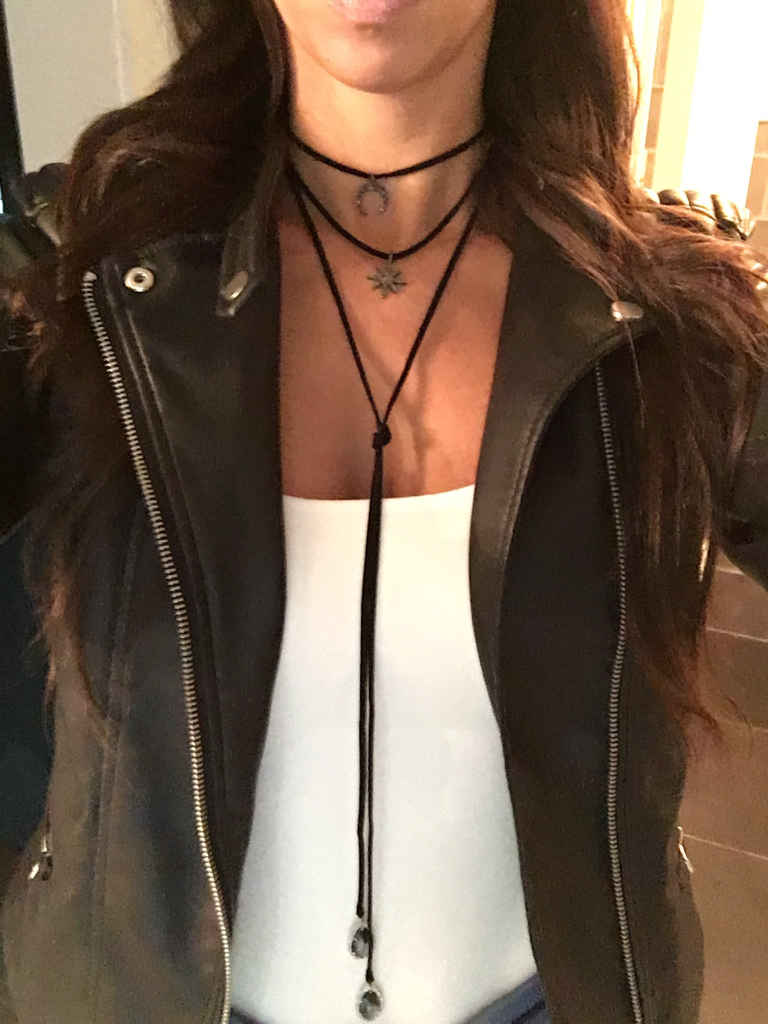 Black Suede Choker Wrap Necklace with Pavé Starburst - Oriana Lamarca LLC