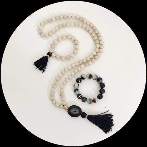 Beige Riverstone with Black Tassel