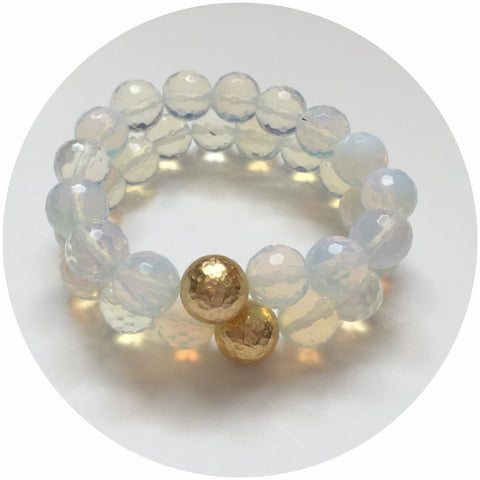 Opalite with Hammered Gold Accent