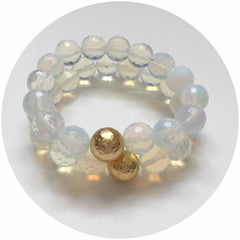 Opalite with Hammered Gold Accent - Oriana Lamarca LLC