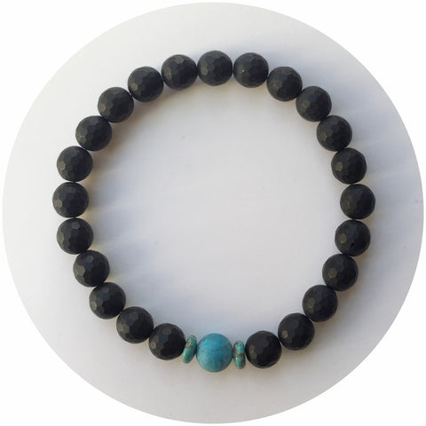 Mens Matte Black Onyx with Turquoise Accent