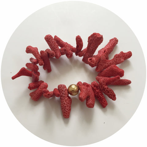 Red Coral Branches with Hammered Gold Ball