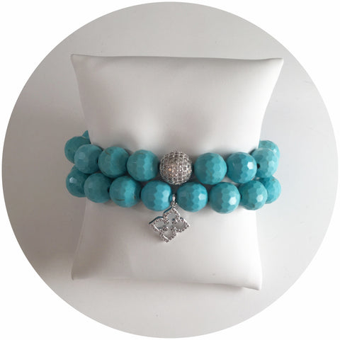 Turquoise Magnesite Silver Tone Color Stax