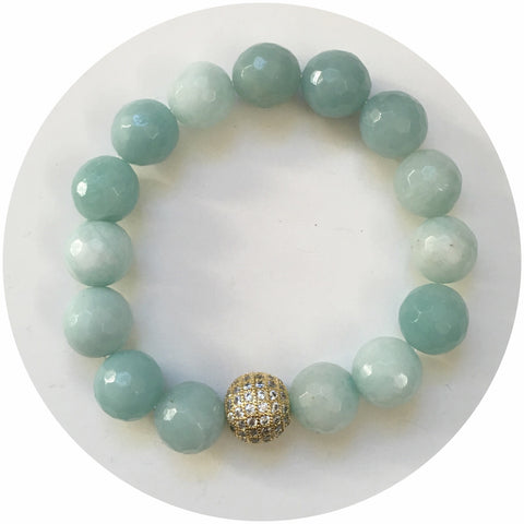 Amazonite Light with CZ Micro Pavé Gold Accent