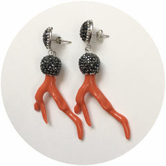 Pavé Red Coral Branch Earcandy - Oriana Lamarca LLC