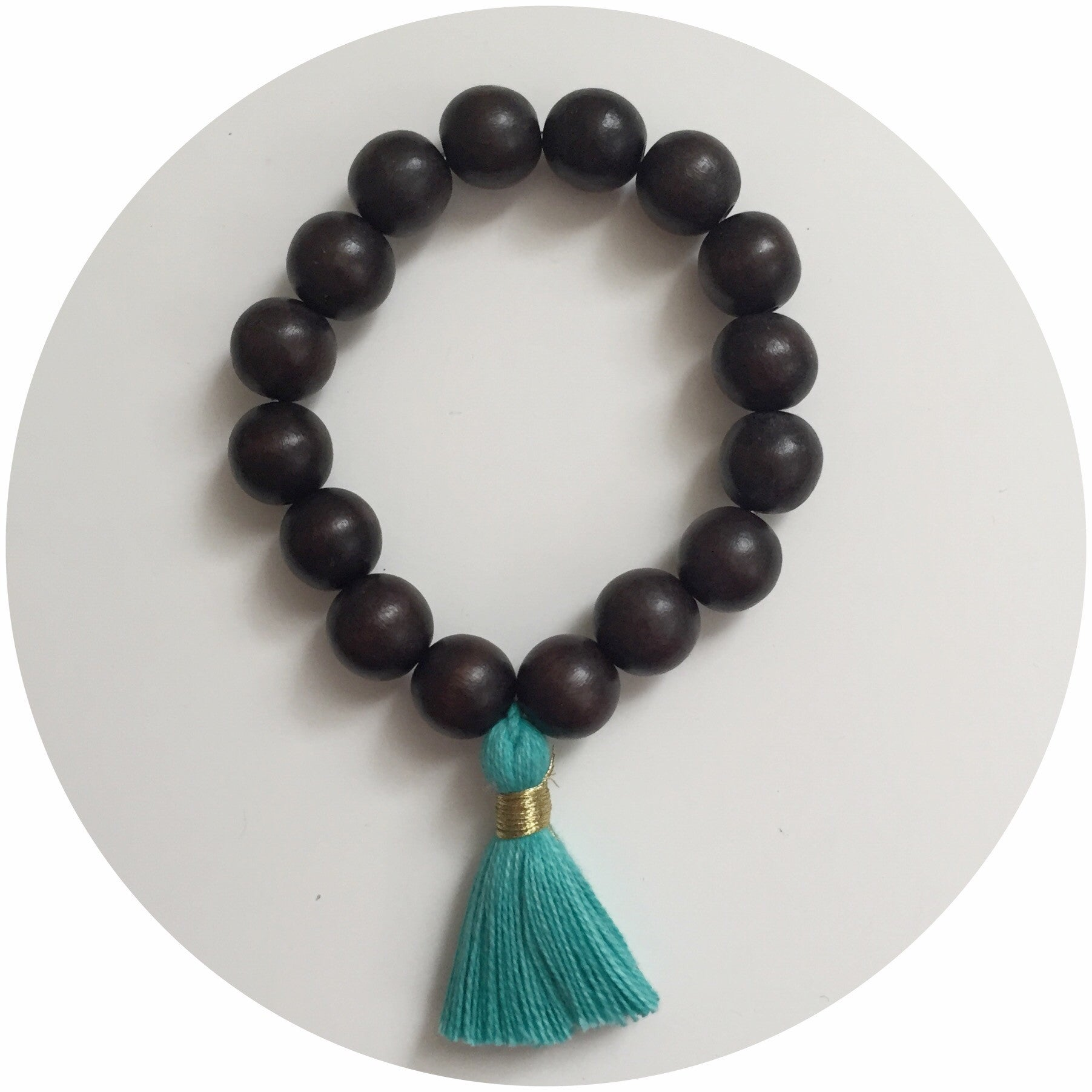 Ebony Wood with Turquoise Tassel - Oriana Lamarca LLC