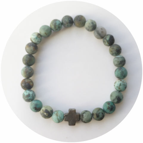 Mens Matte African Turquoise with Pyrite Cross