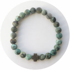 Mens Matte African Turquoise with Pyrite Cross - Oriana Lamarca LLC