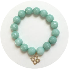 Sea Foam Jade with Pavé Clover Pendant - Oriana Lamarca LLC