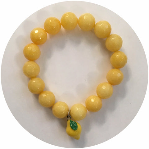 Yellow Jade with Lemon Pendant - Oriana Lamarca LLC