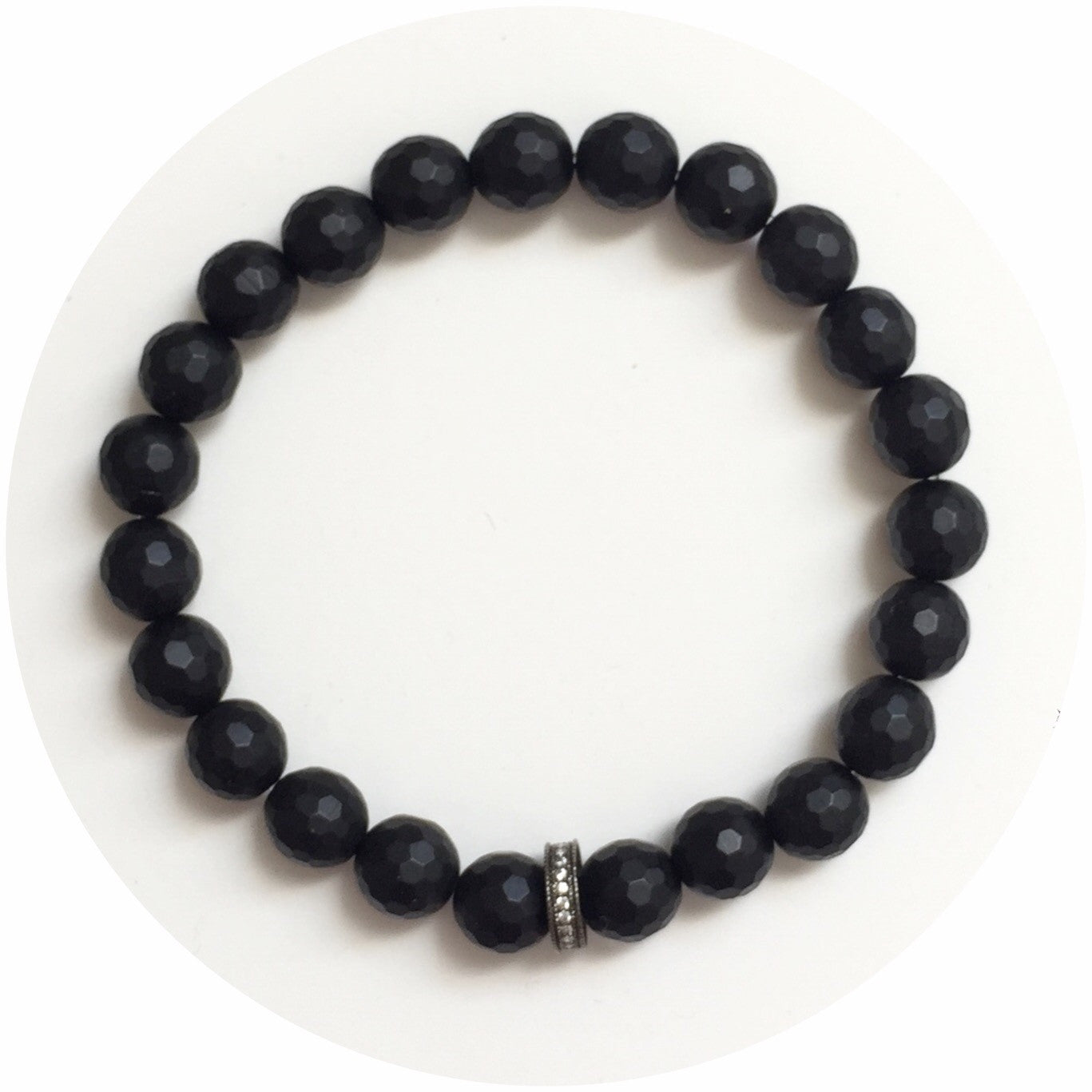 Mens Matte Black Onyx with Gumetal Pavé Mini Spacer - Oriana Lamarca LLC