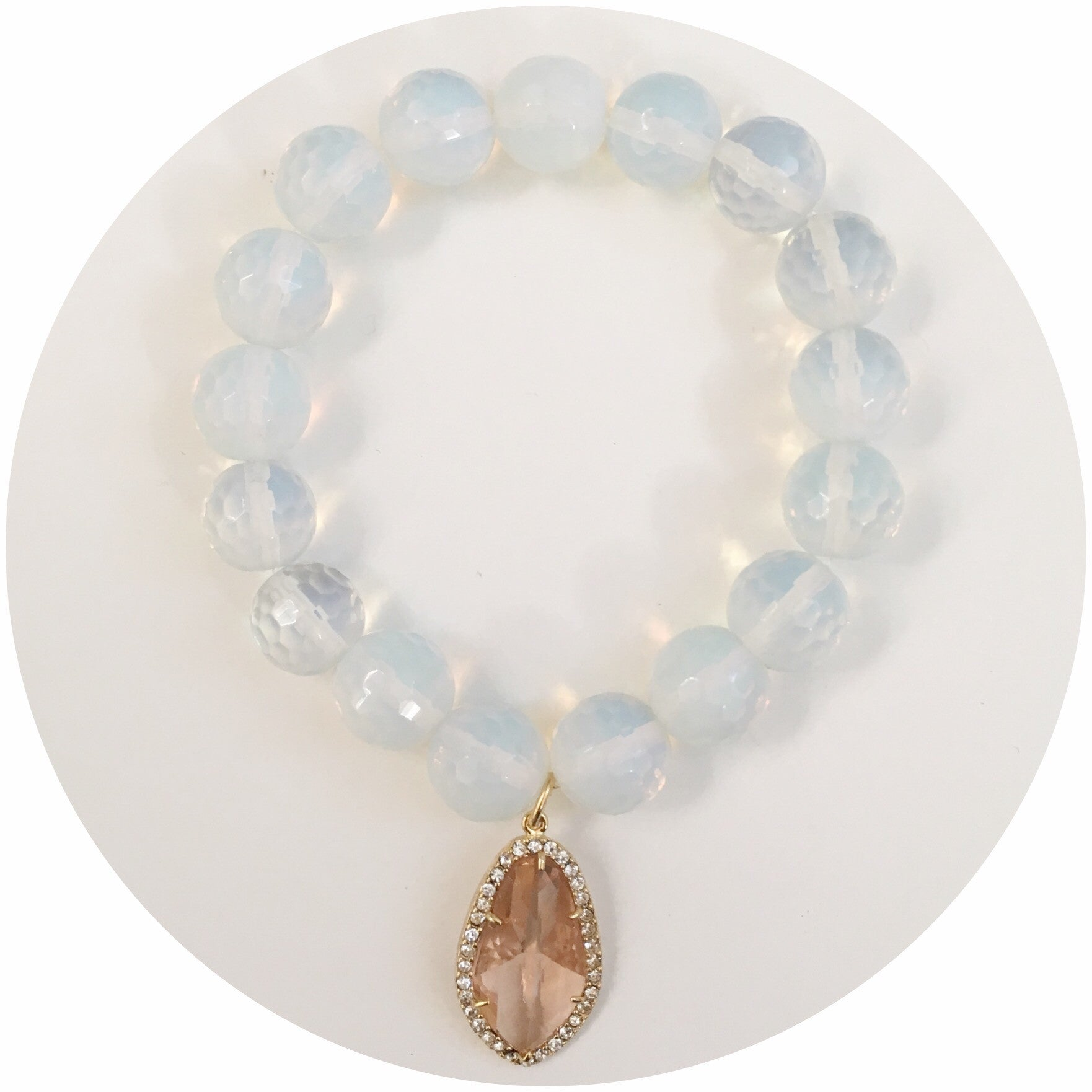 Opalite with Pavé Peach Crystal Point Pendant - Oriana Lamarca LLC
