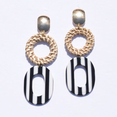 Elba Striped Acrylic & Raffia Earrings