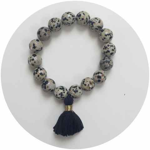 Dalmatian Jasper with Black Tassel