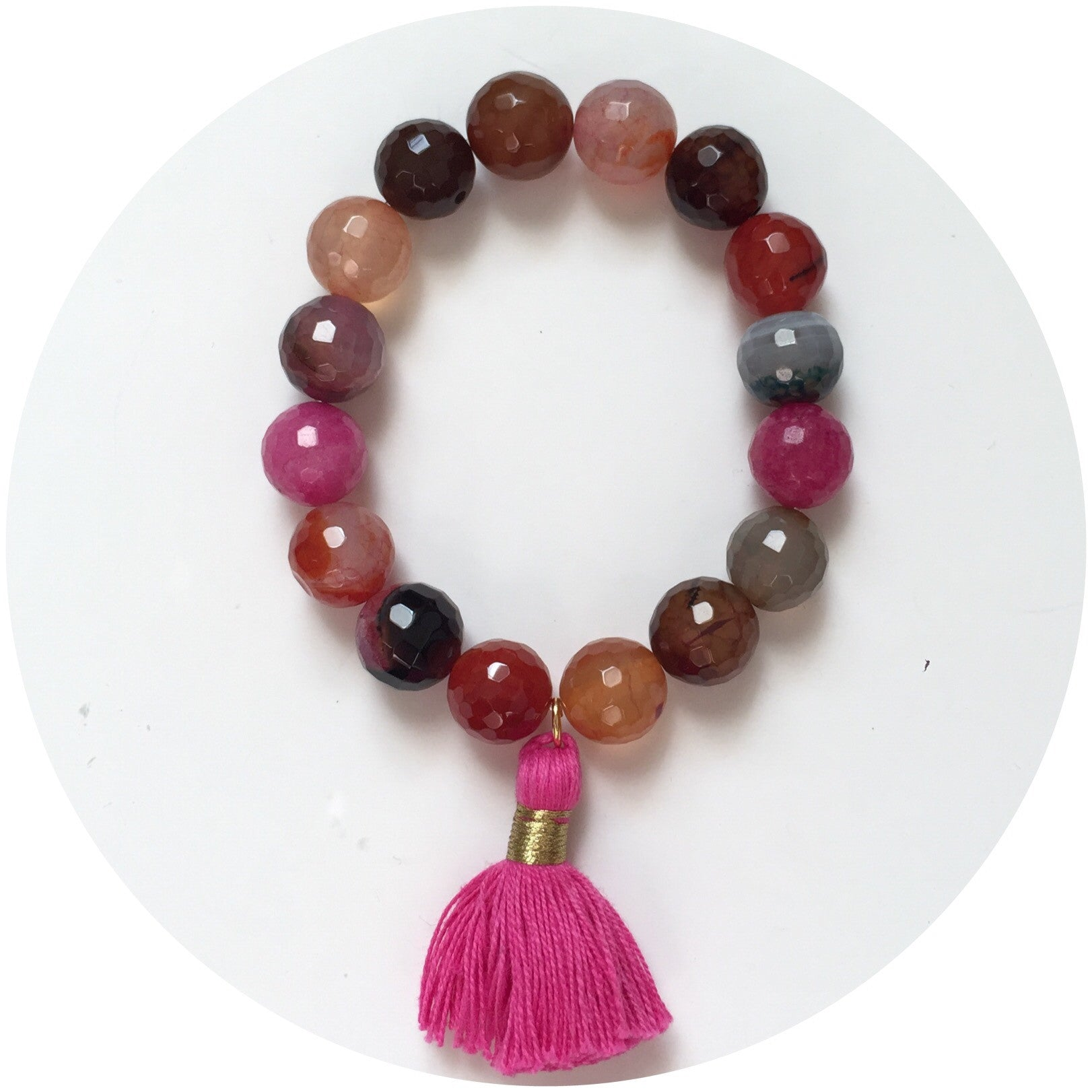 Multicolor Agate with Raspberry Tassel - Oriana Lamarca LLC