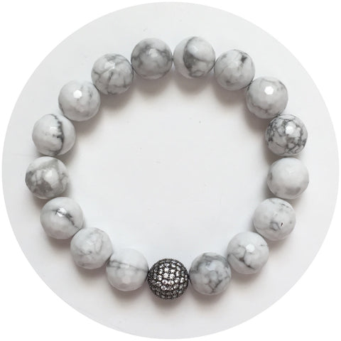 White Howlite with Micro Pavé Gunmetal