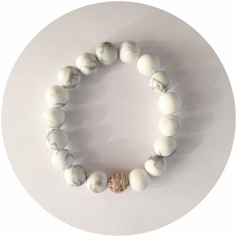 Mini White Howlite with Rose Gold CZ Micro Pavé Accent *For NewBorns*