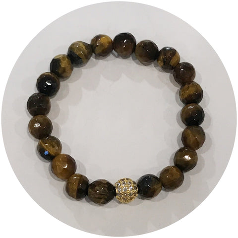 Mini Tiger Eye with Gold Pavé Accent *For NewBorns*