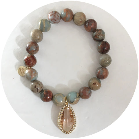 Sandy Jasper with Pavé Peach Glass Pendant