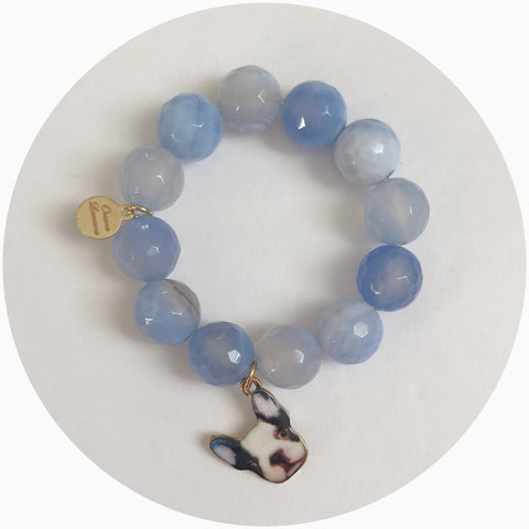 Children's Serenity Blue Agate with French Bulldog Pendant