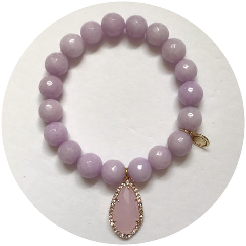 Lavender Jade with Pavé Pink Crystal Point Pendant