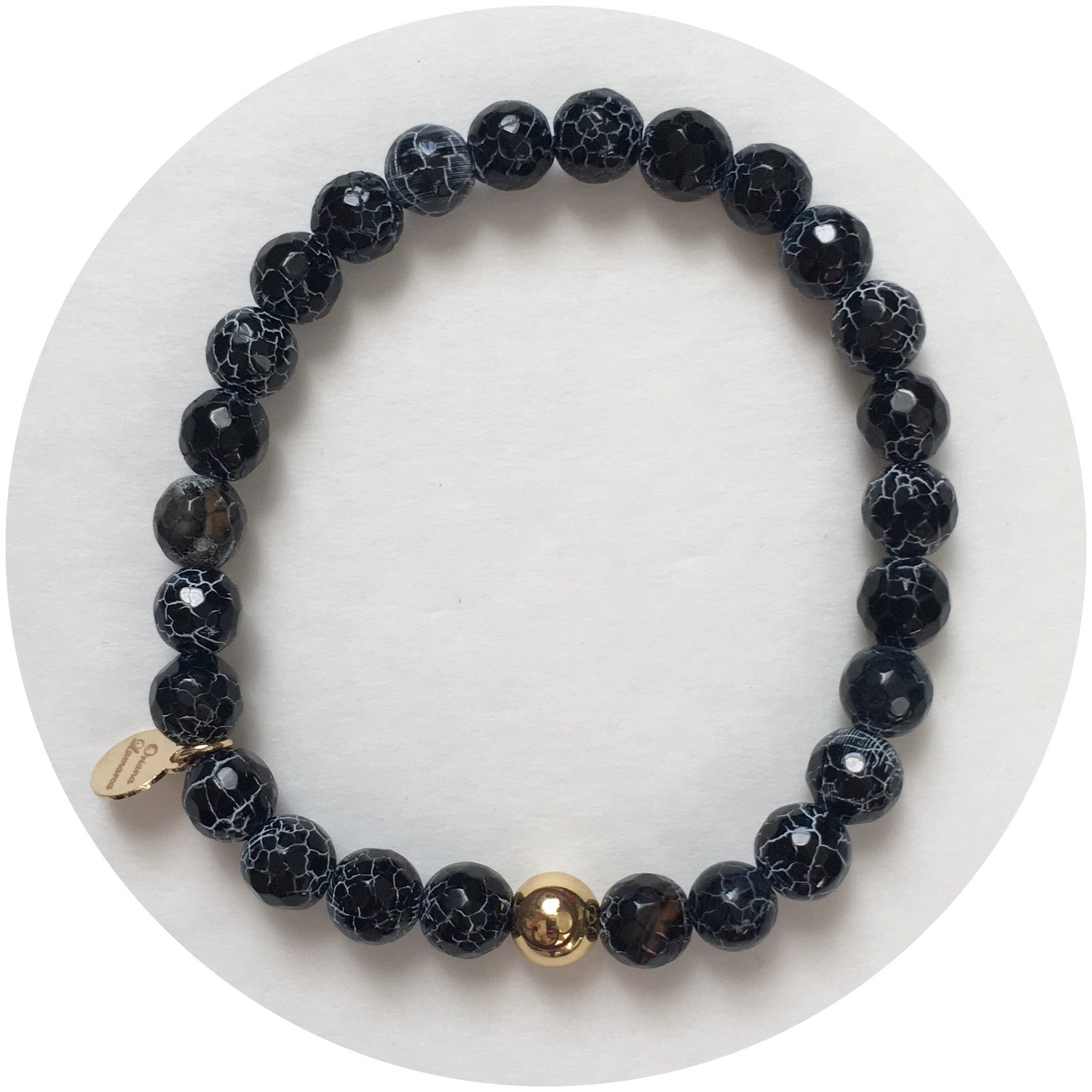 Mens Black Fire Agate with Gold Accent