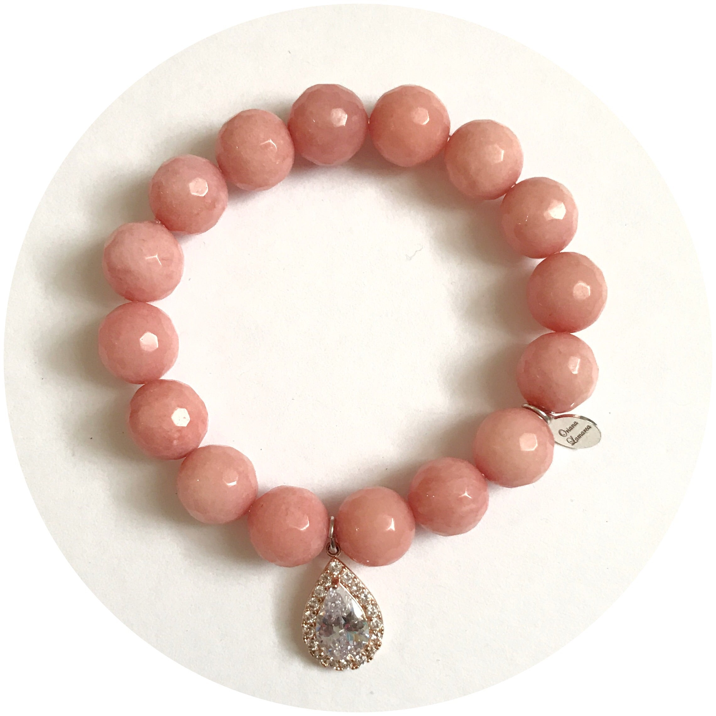 Rose Pink Jade with Pavé Rose Gold Teardrop - Oriana Lamarca LLC