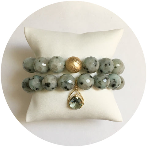 Kiwi Jasper Gold Tone Color Stax