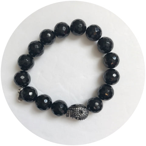 Black Onyx with Pavé Gunmetal Skull