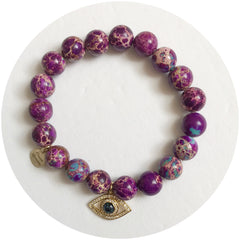 Purple Jasper with Abalone Evil Eye Pendant - Oriana Lamarca LLC