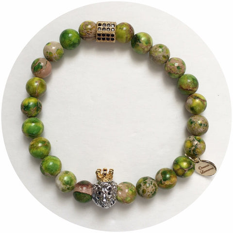 Nate B. Mens Green Imperial Jasper with Pavè Lion