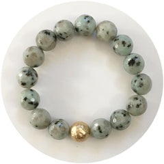 Kiwi Jasper with Hammered Gold Accent - Oriana Lamarca LLC