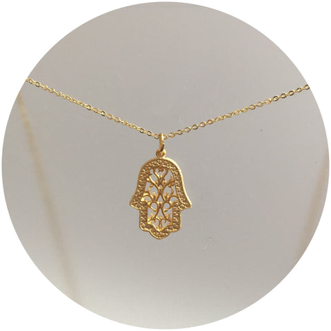 Gold Filigree Hamsa Necklace