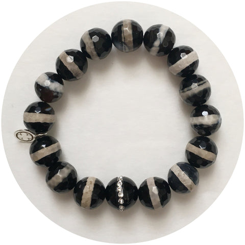 Tibetan Black Zebra Agate with Black Onyx CZ Stripe