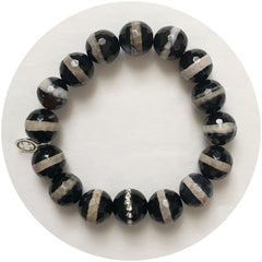 Tibetan Black Zebra Agate with Black Onyx CZ Stripe - Oriana Lamarca LLC