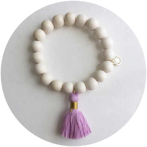 Blonde Wood with Lavender Tassel