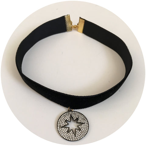 Black Velvet Choker with Pavé Starburst Pendant