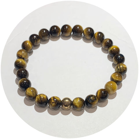 Mens Brown Tiger Eye with Gold Accent