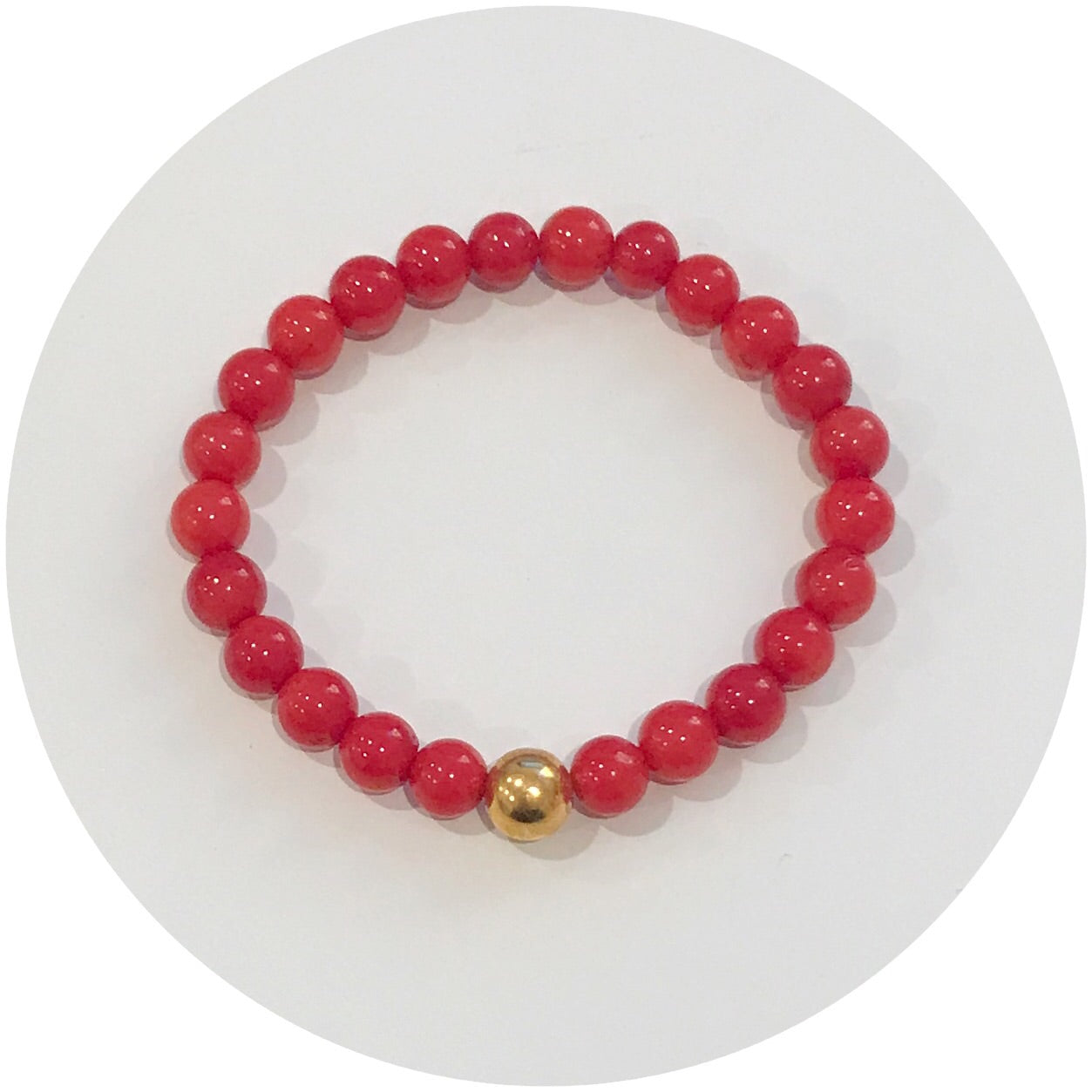 Mini Red Coral with Hammered Gold Accent *For NewBorns*