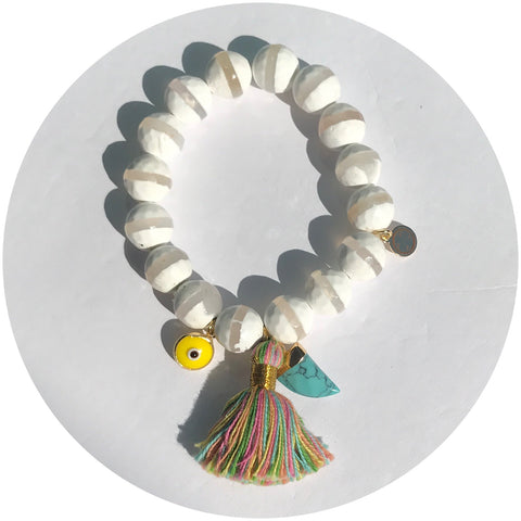 Tibetan White Zebra Agate with Multicolor Tassel and Turquoise Horn