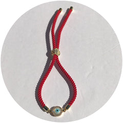 Red Cord with Pavé Mother of Pearl Eye